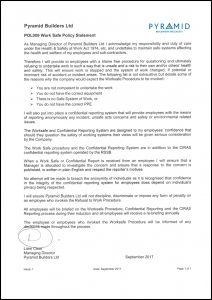 POL009 Work Safe Policy Statement